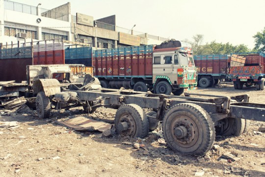 Damaged truck, New Delhi