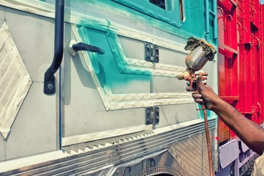 Spray painting the truck door