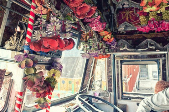 Truck cabin interiors with artificial flowers