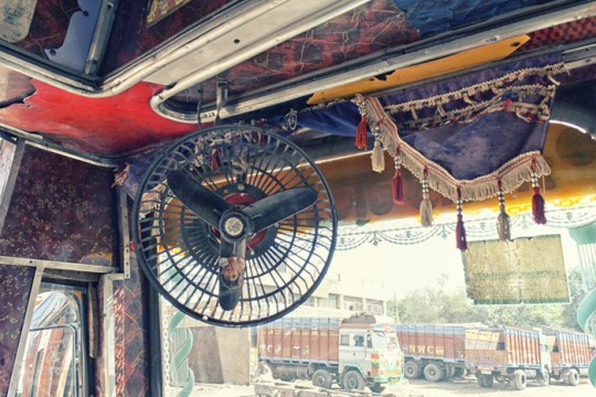 Truck cabin interiors with fan