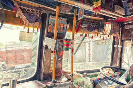 Truck cabin interiors with religious picture