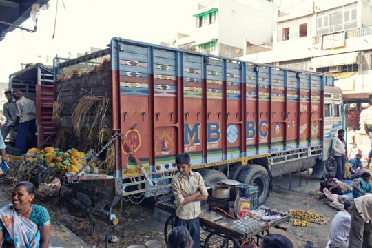 Truck carrying papayas, New Delhi